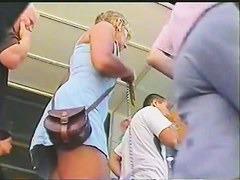 Young amateur blonde upskirt voyeur video