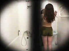 Gorgeous teen brunette hidden shower cam