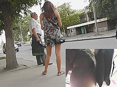 Oops upskirts of dilettante on the bus stop