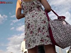 Peeking up petticoat of teenage non-professional