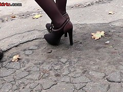 Legal Age Teenager in high heels and pantyhose up petticoat