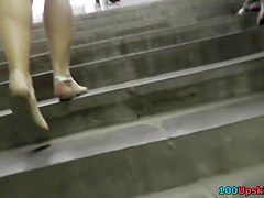 Hotty in striped costume on the stairs