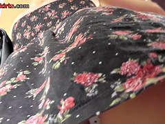 Hawt legs up flowered costume of blond
