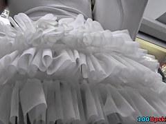 Cutie in cute white petticoat hawt up petticoat