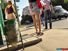 Sexy view on polka dot panty up petticoat