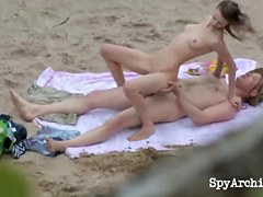 Lewd pair in intensive sex act at the beach