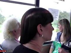 Brunette Hair female upskirt on the bus