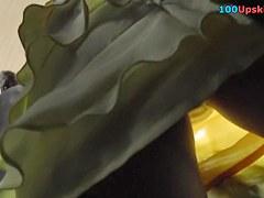 Outlandish upskirt of angel in yellow costume