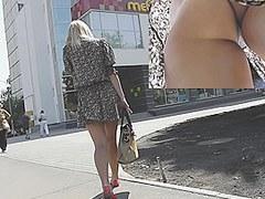 Golden-Haired round ass and white belt upskirt