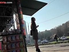 Legal Age Teenager in high heels wears tan pantyhose upskirt