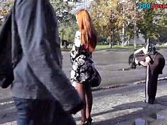 Hawt foxy peek up petticoat in the street