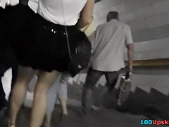 Blond gal legal age teenager up petticoat on escalator