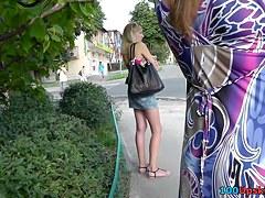 Cute lengthy legged bimbo upskirt on a stop
