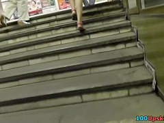 Skinny blond upskirt on the stairs