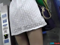 Lascivious up petticoat vid of the leggy bimbo