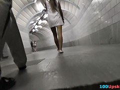 Sweetheart in white suit flashes her upskirt
