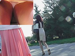 Superlatively Good upskirt of white panty discharged closeup