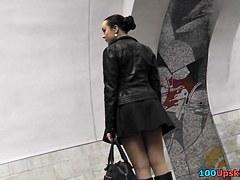 Dilettante brunette hair quick panty up petticoat