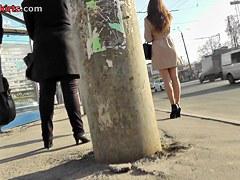 High heeled cutie hot lengthy legs upskirt