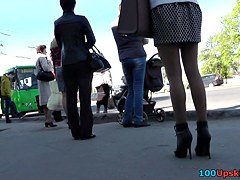 High heeled gal upskirt on transport