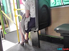 Most Good non-professional arse on bus up petticoat clip