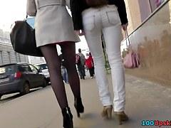 Admiring lengthy hose legs up petticoat