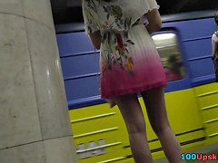 Hotty in summer suit erotic upskirt