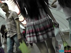 Unconscious upskirt tease from sexy legal age teenager