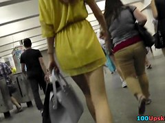 Gal in yellow costume hottest upskirt