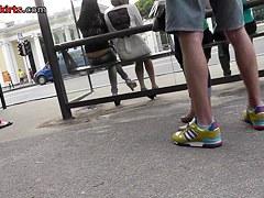 Tan nylons upskirt on the public bus