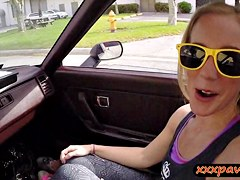 Blonde chick gives road head and gets fucked to sell her car