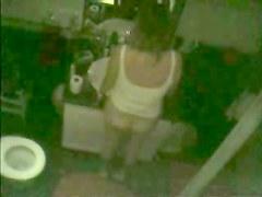 True hidden cam in bathroom catches my mom fingering