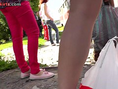 Nice upskirt outdoor scene with blonde in Jeans skirt