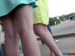 Young brunette hottie in the outdoor upskirt scene