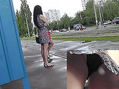 Two girlfriends caught in the outdoor and bus upskirts