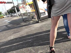 Public upskirt scene with blonde girl in sexy stockings
