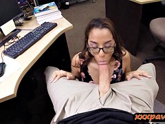 Petite coed girl pawned her books and banged in a pawnshop