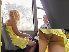 Upskirts tube presents amateur blonde in the public
