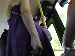 Blonde woman was caught on the upskirt camera