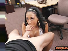Huge tits latina slut pawns her pussy for some extra cash