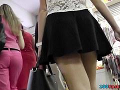 Stunning blonde girl in the free upskirt videos