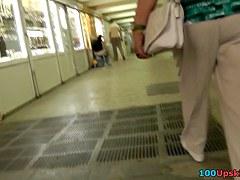 Super slender girlfriend in the voyeur upskirt clip