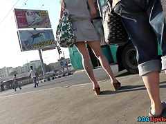 Upskirt tube presents bubble butt of the sexy girl