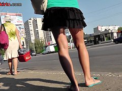 Funny upskirt panties looking hot with black mini skirt