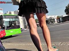 Funny upskirt panties looking hot with black mini skirt