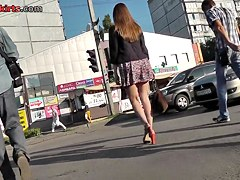 Young babe with beautiful ass looks awesome upskirts