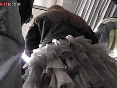Nylon pantyhose look awesome in the upskirt scene