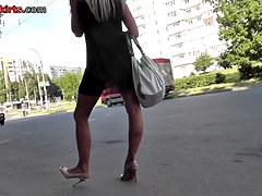 Astonishing blonde MILF in the up skirt action