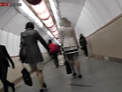 This XXX upskirt action was filmed in the subway