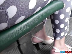 Gentle panties cover sweet pussy in the public upskirt